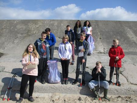 Centurion scouts beachclean at Half Moon Bay Heysham, by Kathy.