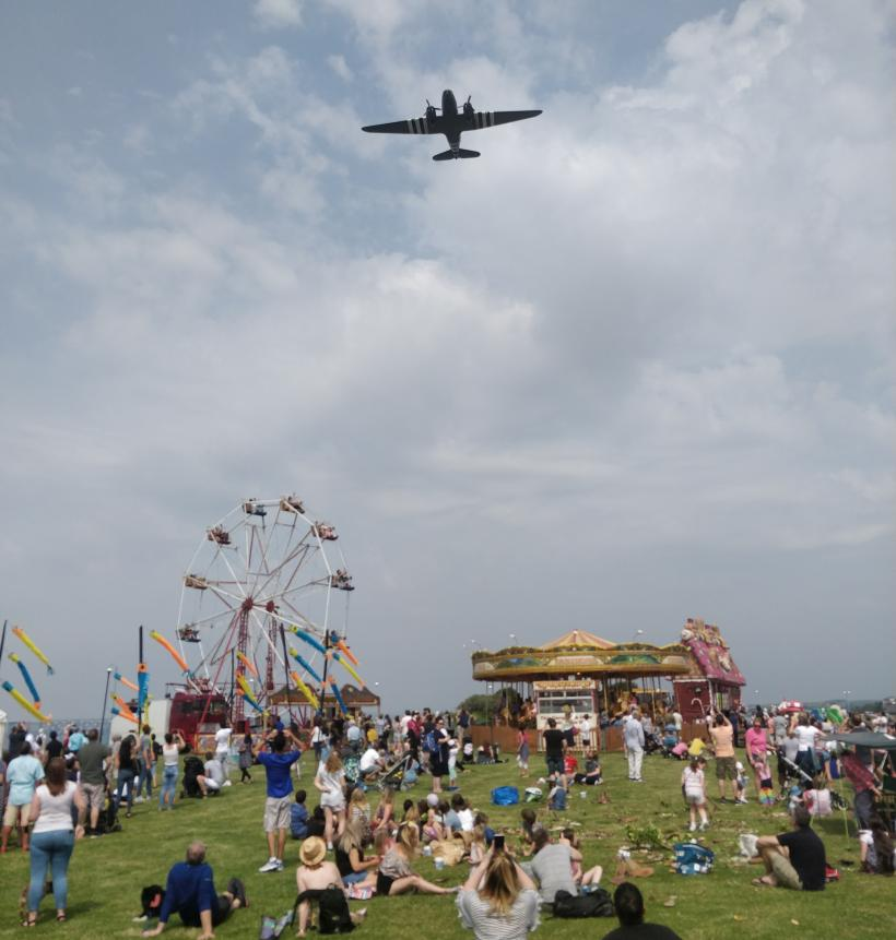 WW2 Dakota over-flying the Morecambe Kite Festival, June 2019.